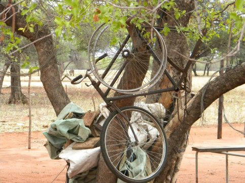 Many broken bicycles and equipment littered the trees. Photo: Tom Draper